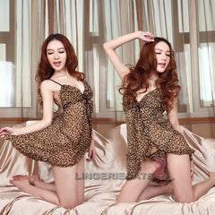 Sexy Leopard Lingerie Babydoll - LingerieCats
