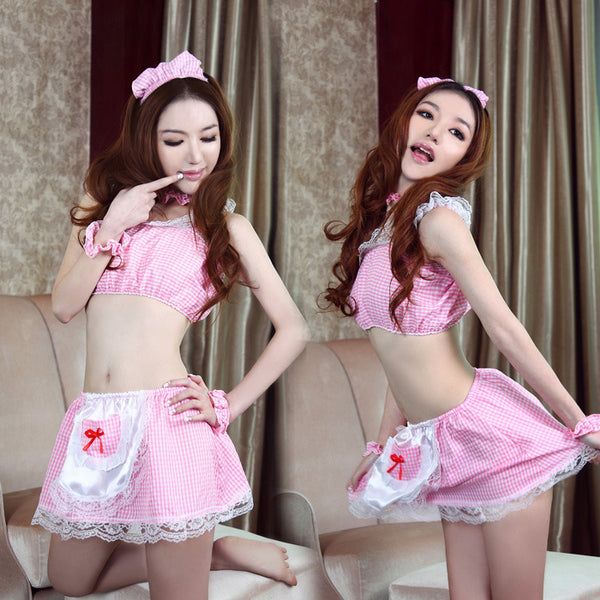 Sexy Pink Maid Cosplay 6 Piece Lingere Dress