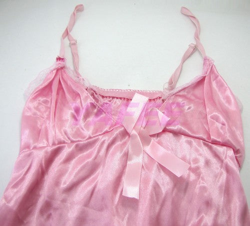 Cute and Sexy Pink Satin Babydoll Lingerie - LingerieCats