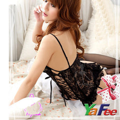 Flirty Black Lace Babydoll Lingerie G-String - LingerieCats