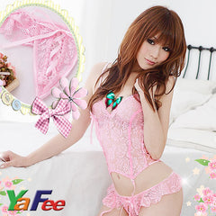 Flirty Pink Lace Babydoll Lingerie G-String - LingerieCats
