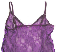 Flirty Purple Lace Babydoll Lingerie G-String