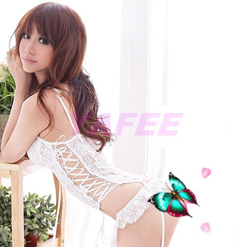 Flirty White Lace Babydoll Lingerie G-String - LingerieCats