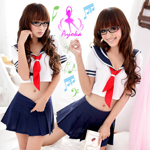 Cute School Uniform Costume White/Blue - LingerieCats