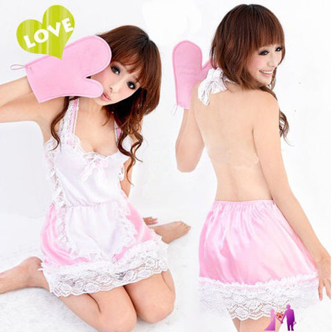 Hot Sexy Pink Maid Backless Dress Costume Lingerie Set