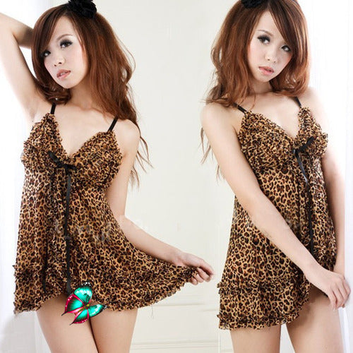 Hot Leopard Babydoll Lingerie Dress