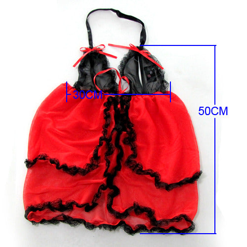 Hot Red Black Open Front Babydoll Lingerie - LingerieCats