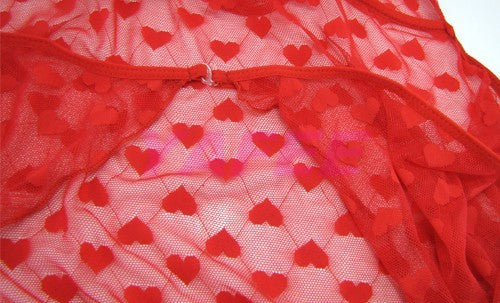 Hot Red Heart Pattern See Through Babydoll Lingerie - LingerieCats
