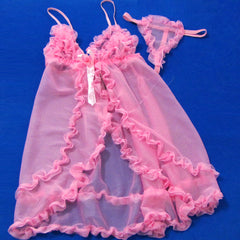 Hot Sexy Open Front Pink Babydoll Lingerie - LingerieCats