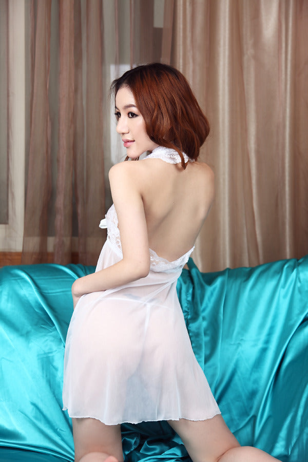 Backless Open-Front White Waist Ribbon Babydoll Lingerie - LingerieCats