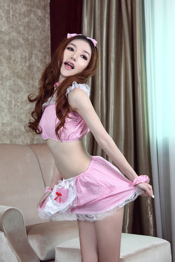 Sexy Pink Maid Cosplay 6 Piece Lingere Dress - LingerieCats
