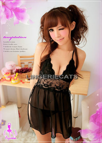 LINGERIECATS Black and White Bow Knots Lace Halter 4pcs Maid Costume Set