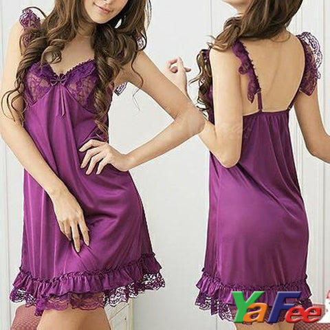 Sexy Babydoll Lingerie Sleep dress Purple