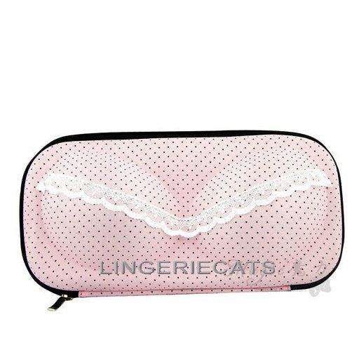Sweet Pink Dots Bra Travel Bag - LingerieCats
