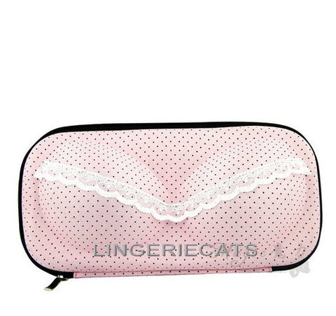 Sweet Pink Dots Bra Travel Bag