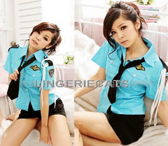 Sexy Police 2 Piece Blue Costume Outfit - LingerieCats