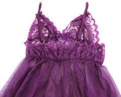 Purple Strap and See Through Babydoll - LingerieCats