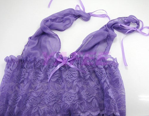 Seductive Purple Babydoll G-String Lingerie