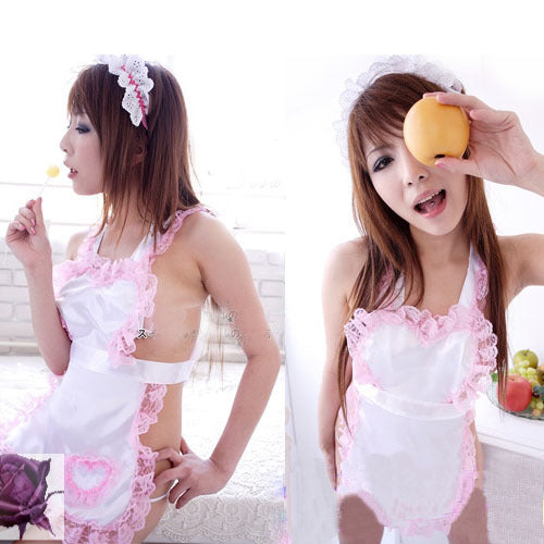 Seductive White Apron with Pink Lace  Lingerie Costume - LingerieCats