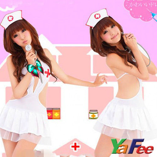Seductive White Nurse Costume Lingerie G-string Hair Band - LingerieCats