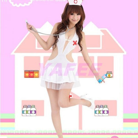 Sexy White Nurse Costume G-String Hat Gloves Set