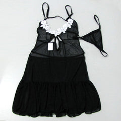 Sexy Black Open Front Babydoll Lingerie Set