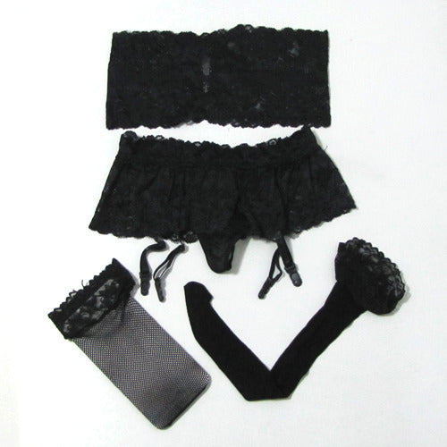 Black TubeBra Gartered Lingerie 3 Piece Set with Stocking - LingerieCats