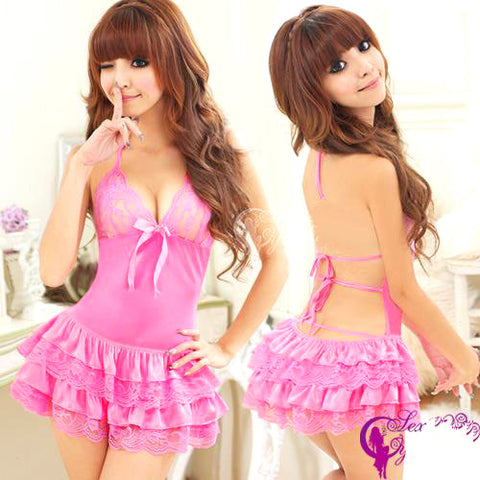 Sexy & Cute Pink Satin Babydoll Lingerie