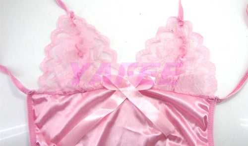 Sexy & Cute Pink Satin Babydoll Lingerie - LingerieCats