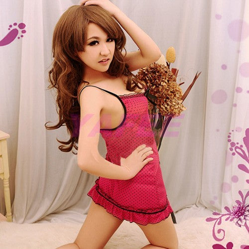 Sexy Dotted Rose Babydoll Lingerie  G-string - LingerieCats
