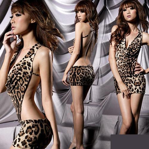 Sexy Leopard Backless V-neck Clubwear Lingerie Dress - LingerieCats