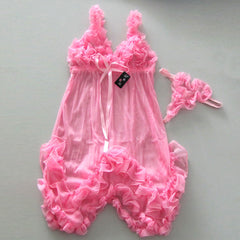 Sexy Pink Babydoll Lingerie Dress Ribbon G-string