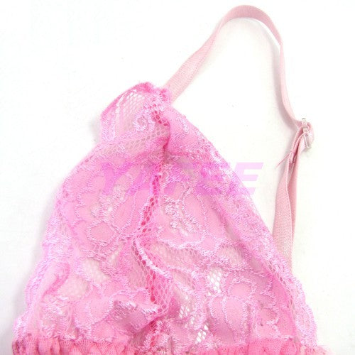 Sexy Pink Open Front G-String Lingerie Set