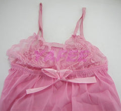 Sexy Pink Satin Babydoll Lingerie