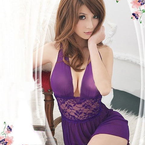 Sexy Purple Backless Clubwear Lingerie Dress