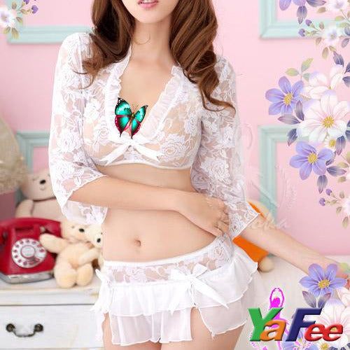 Sexy White Floral Lingerie Sheer Lace dress +Mini Skirt - LingerieCats
