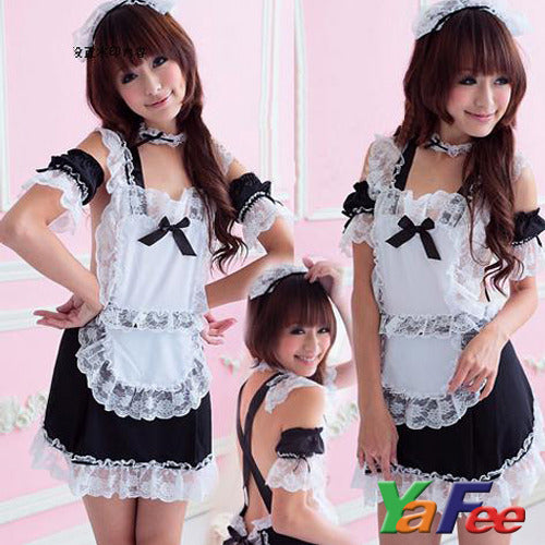 Sexy White Lace Maid Costume Lingerie Set - LingerieCats