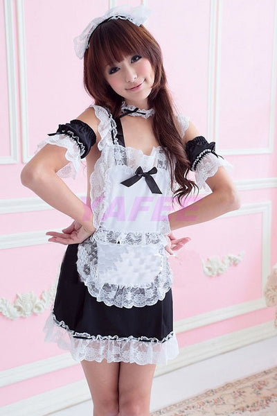 Sexy White Lace Maid Costume Lingerie Set