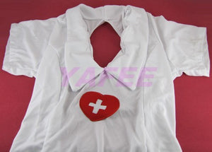 Sexy White Nurse Costume G-String Hat Gloves Set - LingerieCats