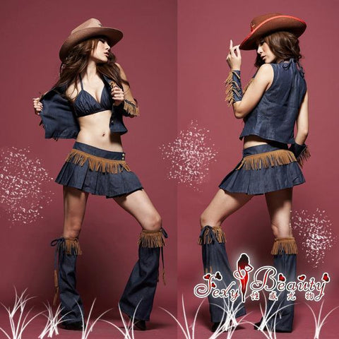 Sexy Cowgirl Costume Dress Blue Set - LingerieCats