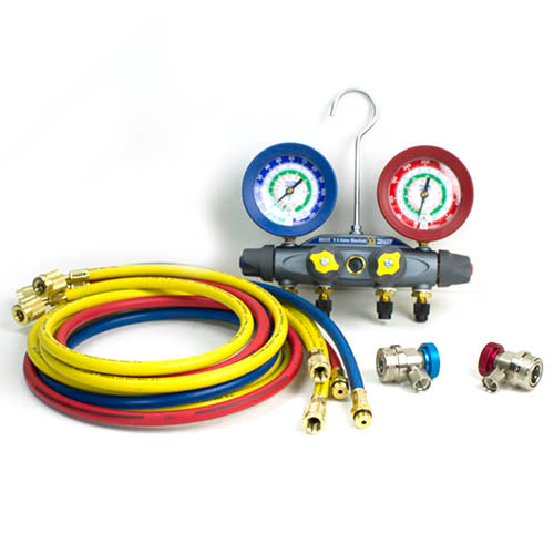 Yellow Jacket 46101 | BRUTE II 4-VALVE MANIFOLD GAUGE SET