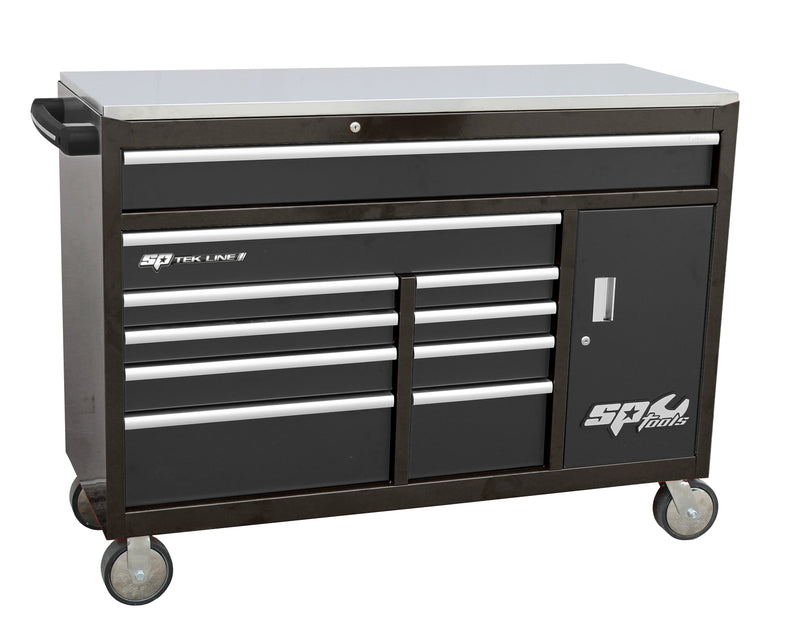 TEK LINE Roller Cabinet with Power Tool Cabinet - 10 Drawer - Black
