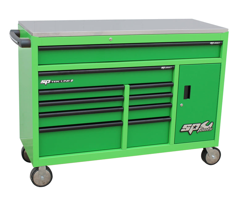 TEK LINE Roller Cabinet with Power Tool Cabinet - 10 Drawer - green/dark Green