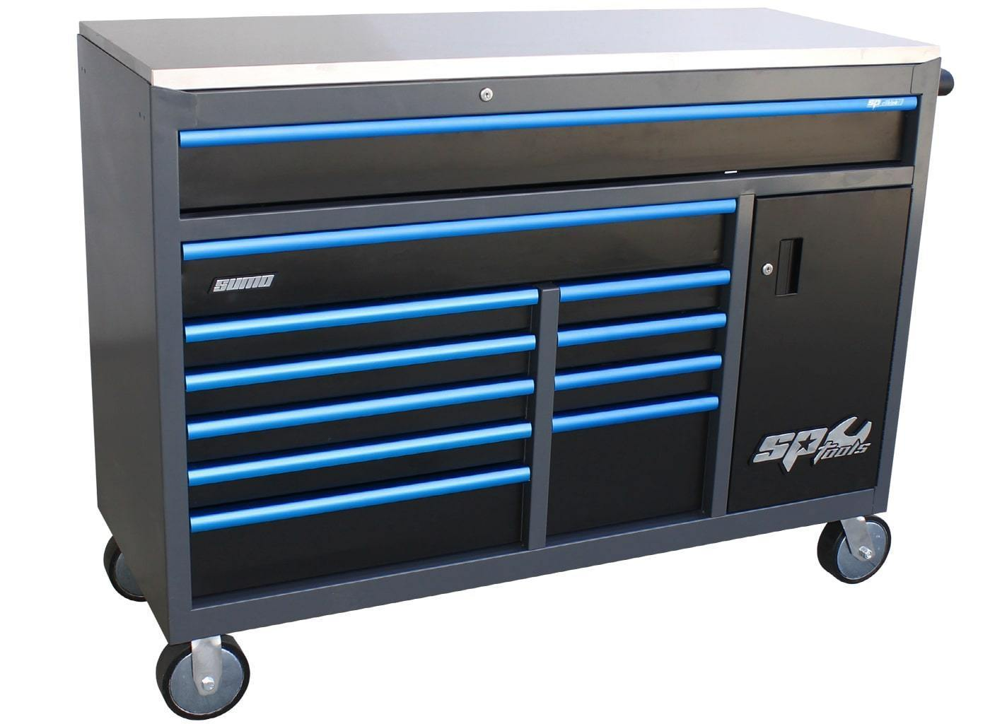 sumo-series-roller-cabinet-with-power-tool-cupboard-11-drawer-diamond-black-blue-handles