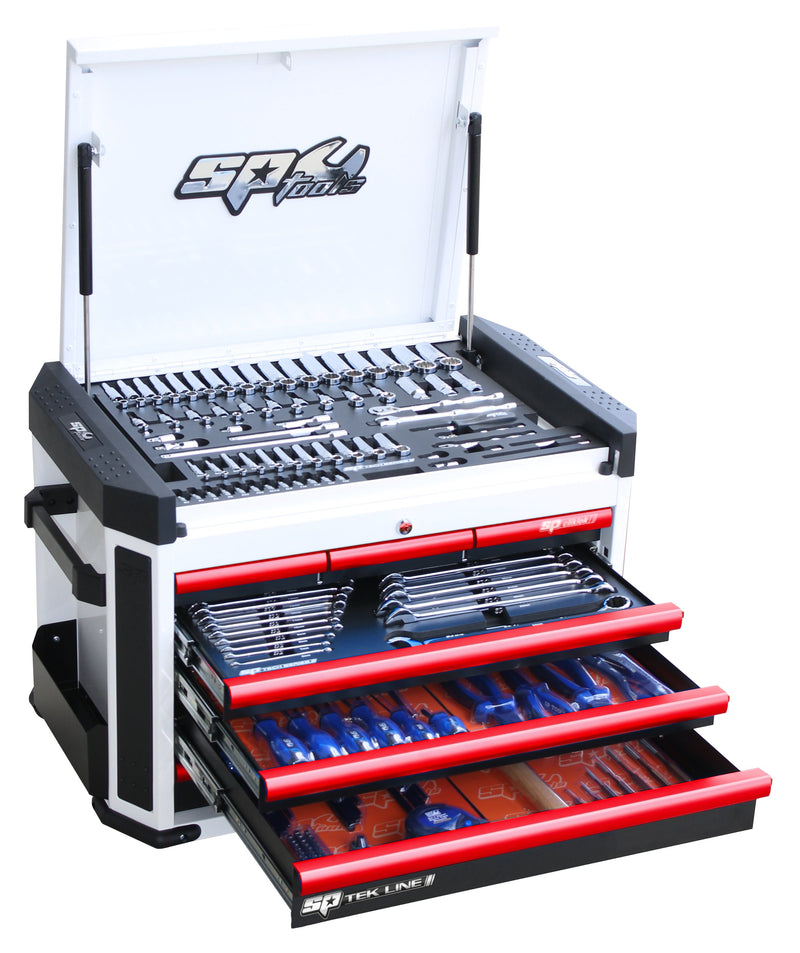 TEK LINE Starter Professional Technician Tool Kit - 230pc - Metric Only - White/Red Handles