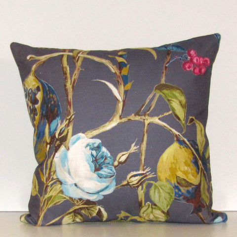 Orchard linen cushion cover, blueberry