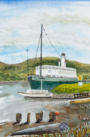 Nancy & Cartela on the Huon River at Franklin greeting card
