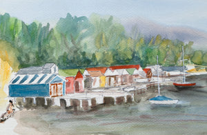 Boatsheds at Cornelian Bay greeting card