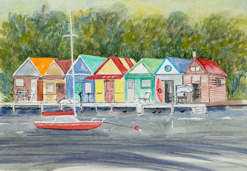 Red yacht & boatsheds, Cornelian Bay greeting card