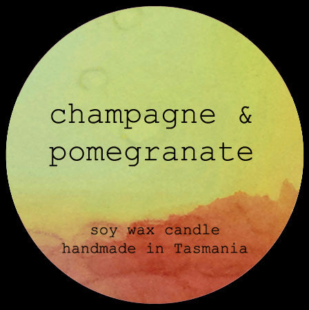 champagne & pomegranate soy/coconut candle